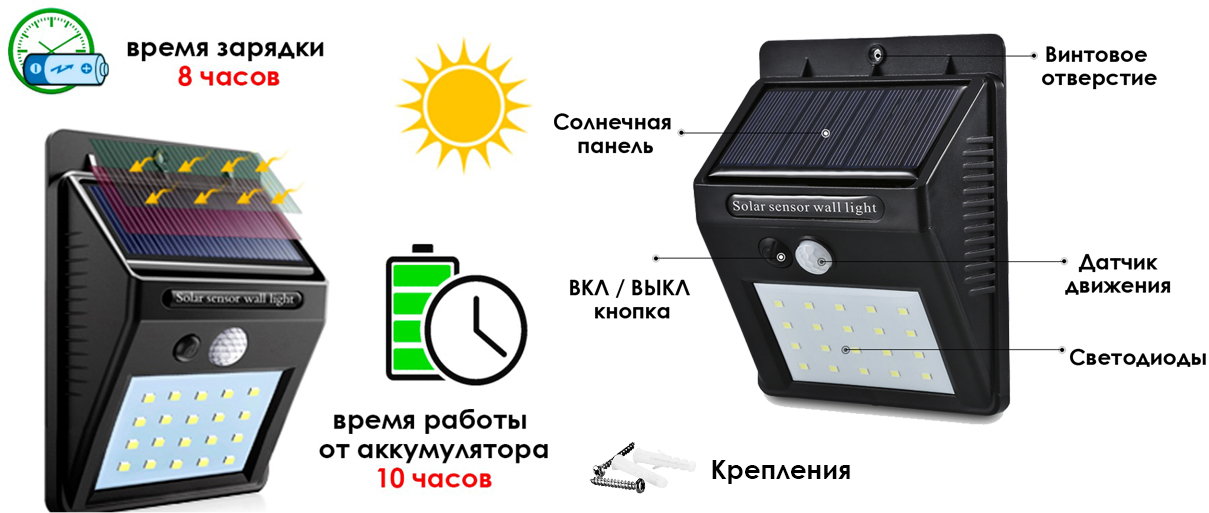 LED светильник на солнечной батарее VARGO 6W VS-107254