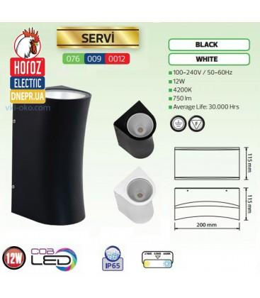 Настенный светодиодный уличный светильник Horoz SERVI 12W 4200K IP65