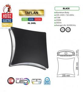 Настенный уличный светодиодный светильник Horoz TAFLAN 5,5W 4100K IP44