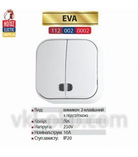 Выключатель с подсветкой белый 2 кл. EVA