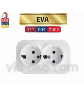 Розетка двойная накладная с заземлением EVA белая