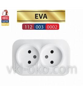 Розетка накладная двойная без заземлением EVA белая