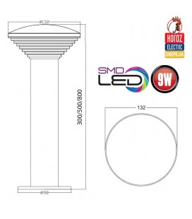 Светильник парковый столб 500 мм 9W купить Днепр Украина