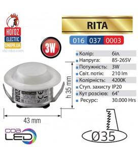 Светильник точечный врезной LED RITA 3W 4200K