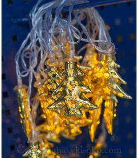 Гирлянда ёлка металлическая  20 шт 5 м, теплое свечение