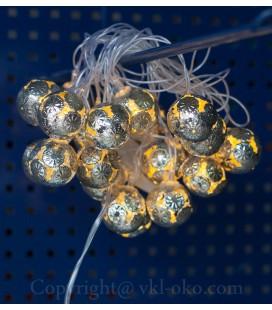 Декоративные гирлянды для интерьера Золотой Шар 20 шт 5 м. золото