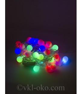 Гирлянда матовый шарик  40 шт 5 м, разноцветные
