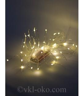 Гирлянда нить Роса 40 LED 4 м, тепло-белое свечение