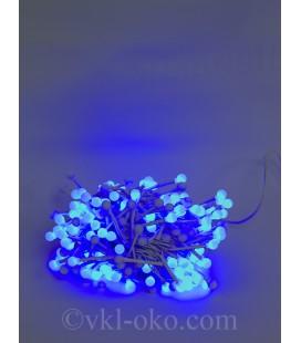 Гирлянда с белой матовой лампой 200LED 7м синяя, белый провод