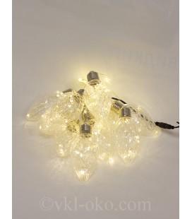 Светодиодная гирлянда Роса в лампе  10 шт 4 м, тепло-белое свечение