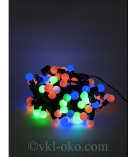 Гирлянда матовые шарики 40 шт 5 м, разноцветные, черный провод