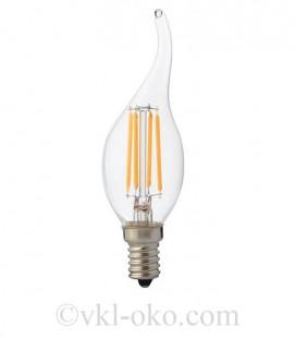 Светодиодная лампа свеча на ветру LED Horoz FILAMENT FLAME-4 4W  Е14