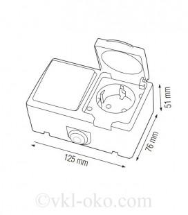 Одинарный выключатель + розетка с заземлением ATOM накладные