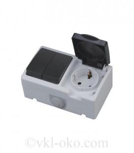 Двухклавишный выключатель + розетка с заземлением ATOM накладные