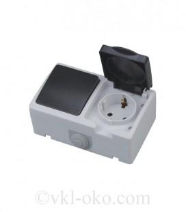 Одноклавишный выключатель + розетка с заземлением ATOM накладные