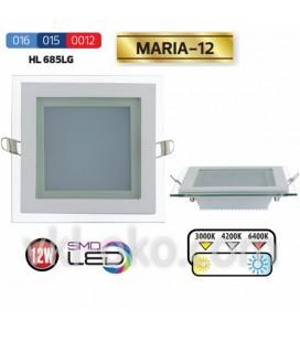 Светильник потолочный LED Horoz MARIA 12W (стекло, квадрат)