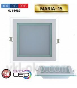 Светильник потолочный LED Horoz MARIA 15W  (стекло, квадрат)