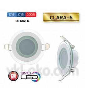 Светильник потолочный LED Horoz CLARA-6W  (стекло, круг)