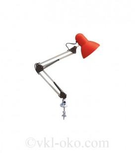Настольный светильник Horoz RANA на струбцине под лампу Е27 красный
