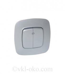 Выключатель двухклавишный с подсветкой Horoz ELA белый